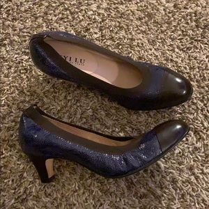 Blue brown ANYI LU Leather Shoes Heels size 39